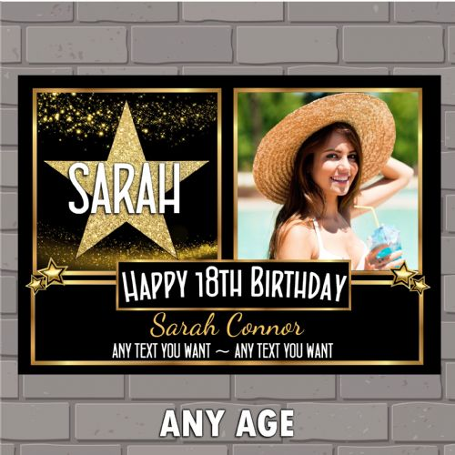 Personalised Star Sparkle Happy Birthday PHOTO Poster Banner N167